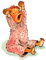 Bedtime! Illustration of baby yawning