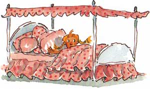 Bedtime! Illustration of little girl in pink bed