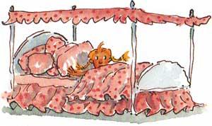 Bedtime! Illustration of little girl in pink bed