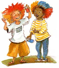 Hairdo! Illustration of boys with colored hair
