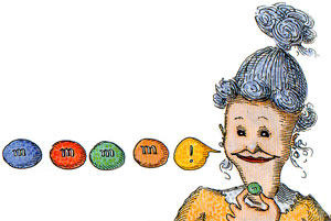 How Sweet It Is (And Was) illustration of woman eating m & ms